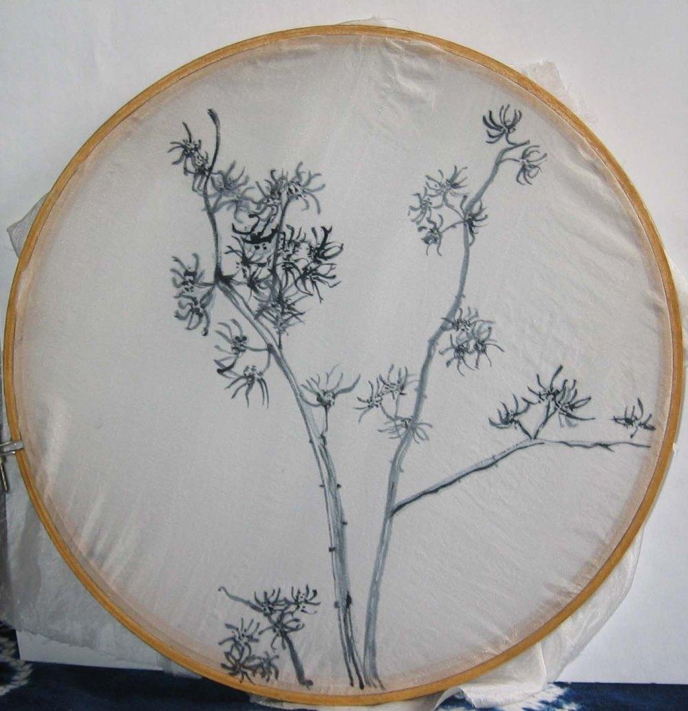 indigo painted on silk